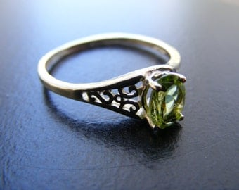 15% Off Sale.S201 Made to Order...New Sterling Silver Antique Ornate Filigree Ring With 1 carat Natural Peridot Gemstone