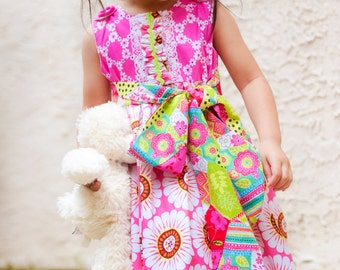 Dress -  Holiday Dress - Toddler Clothing - Children Clothing - Floral Dress - Modern Children Fashion - 2T to 8