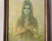 Reserve Eva Flower Child yellow tones flowers big eyes print on canvas wood frame by Frank M Tauriello
