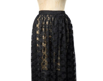 vintage 1980s floral lace skirt / Cathy Hardwick / black / sheer see-through / 80s skirt / women's vintage skirt / size small