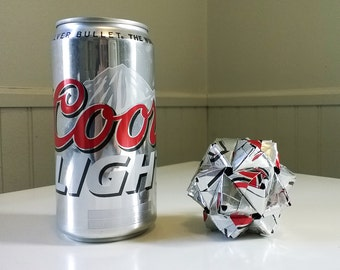 Coors Light Can Origami Ornament // Upcycled Recycled Repurposed Art // Valentines Day // weird gifts
