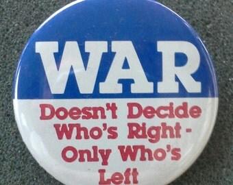 Unworn Retro '80s Anti-War Button badge pin nonpartisan peace crass anarcho punk