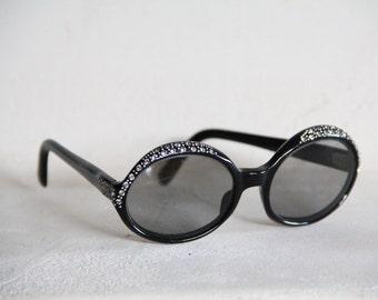 1960s Swank sunglasses in black with diamond rhinestones