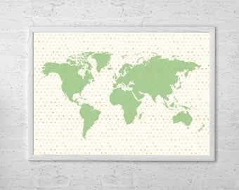 World Map Poster Paint Art Print, - Room Decor, Wall Hanging, - Large - Medium
