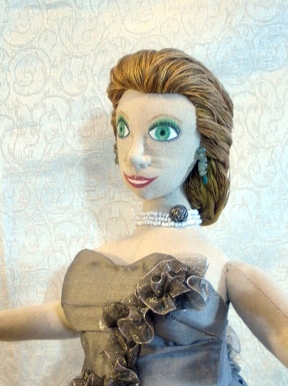 Cloth doll 18 inch in bronze silk with flowers and jewelry one of a kind, named Chelsea