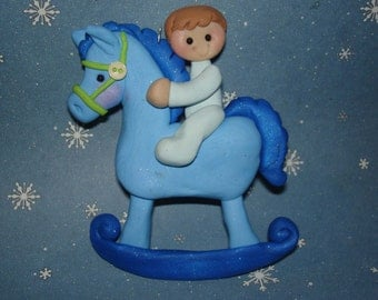 Baby Rocking Horse Christmas Ornament Blue Pink PJ's Polymer Clay Milestone Cake Topper Gender Reveal Shower 1st Birthday Buttons Rockers