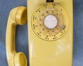 Wall Phone -Works -YELLOW mod kitchen / office land line , rotary dial , ring volume Loud , Hello can I help You ... Yes