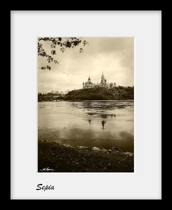 Ottawa Photography Parliament Hill seen from Gatineau PRINT Black and White Sepia Fine Photo Room Home Decor Wall Picture Urban Canada him