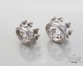 crown silver crown ring crown byzantine stylewedding bands crown wedding rings delicate rings - Crown Wedding Rings