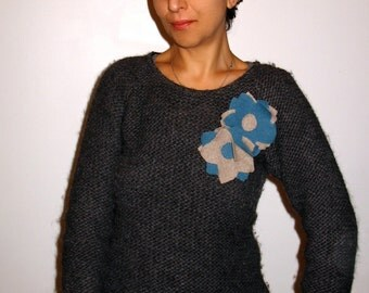 Cashmere Flower Pins in Beige & Teal-Blue. HOLIDAY GIFT under 20. For Her. Two for 16.