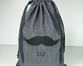 Personalized Groomsmen Gift Bag - Mens Gift Bag - 8x12 Mustache, Bowtie or Necktie Gift Bag