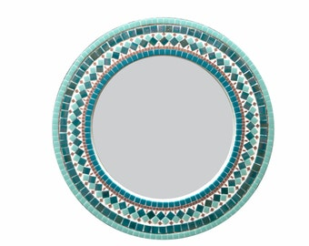 Round Mosaic Mirror, Teal Kitchen or Dining Room Decor, Wall Mirror