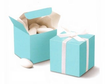 "50 pcs , Tiffany Blue Cube Wedding Favor Boxes 2""x2""x2"""
