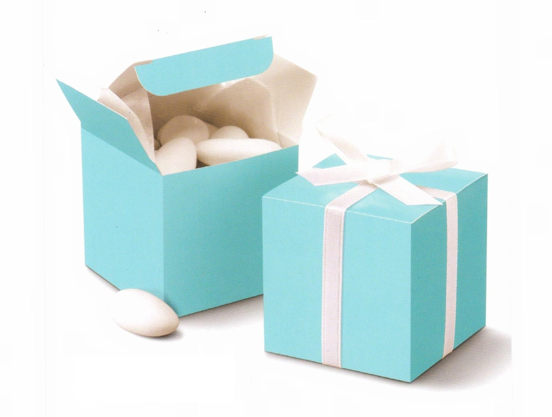 50 pcs Tiffany Blue Cube Wedding Favor Boxes