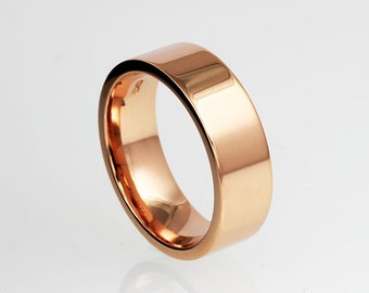 Wide Rose Gold Wedding Band 14k Yellow White