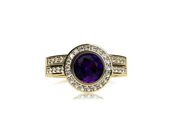Items similar to Tanzanite halo engagement ring set ...