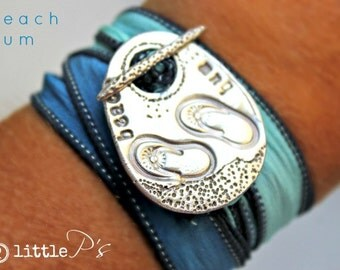 READY TO SHIP Beach Bum Jewelry  Pure Silver Beach Bum Silk Wrap Toggle Bracelet Handcrafted