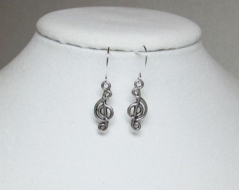 Treble Clef Silver Plated Earrings