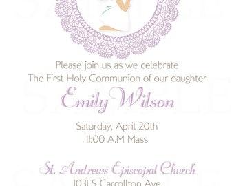 Elegant First Holy Communion -Mi Primera Communion Invitation - Printable file
