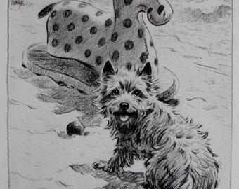CAIRN Terrier Art Print Beach Fun (Neat for Kids Room Childrens Decor) Vintage 1940s Dog Print Morgan Dennis Art Print 2107