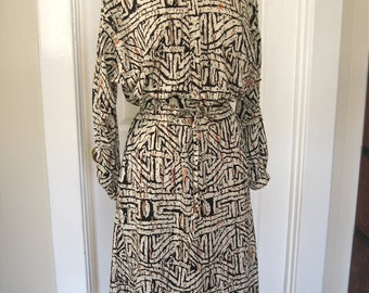 Vintage 80s Frances Henaghan Silk Dress with Draw String Waist and Long Sleeves in Tribal Print