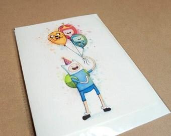 Birthday Card Adventure Time Finn Balloons, Jake BMO Princess Bubblegum Folded Greeting Card