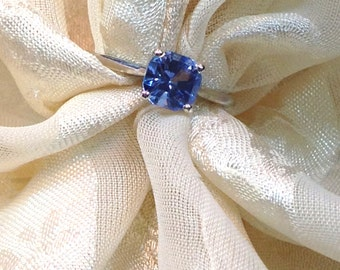 Classic Blue Topaz Ring or Engagement Ring Handmade Jewelry Cushion Cut
