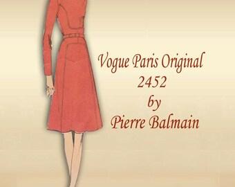 1970s Vogue  Dress Pattern Couture Semi Fitted Designer Dress Jewel Neckline by French Designer Pierre Balmain Paris Original 2452