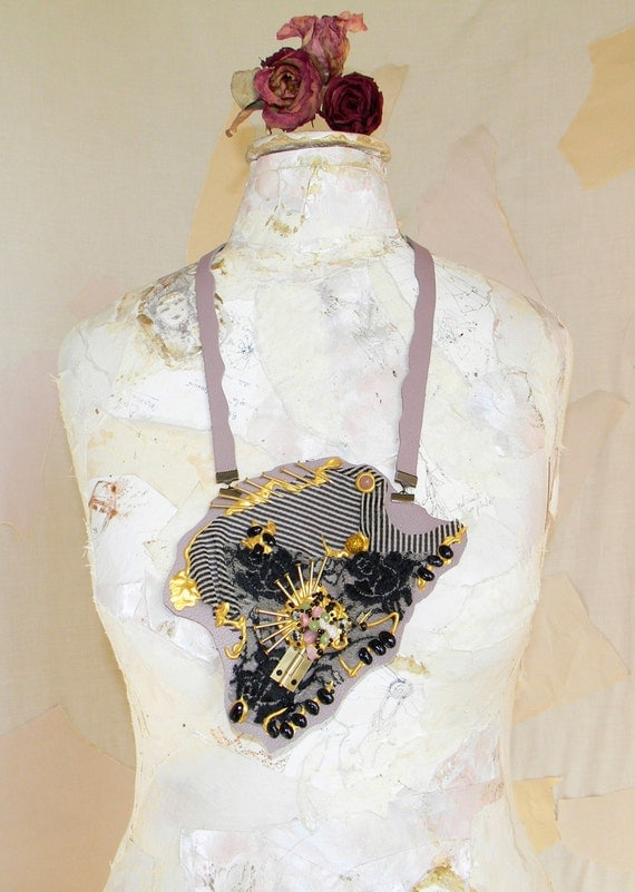 Leather Necklace Bib Steampunk Collage and Gothic Fusion Plus Size Body, Abstract Costume Jewelry with Textile Applique and Beads