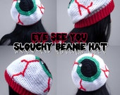 Eye See You Slouchy Beanie - Spooky Eyeball Crochet Hat - Custom Iris Colour Anatomical Beanie - Halloween Themed Vegan Winter Hat