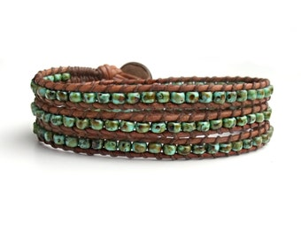 Turquoise Triple Wrap Bracelet, Mens Braclets, Leather Bracelets for Women, Southwest Jewelry, Boho Artisan Jewelry