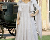 Renaissance Noblewoman's Dress in Crushed Velvet, Handmade with Scarf , Multiple Colors Available