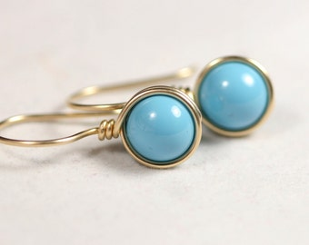 Gold Turquoise Earrings Wire Wrapped Jewelry Handmade Gold Earrings Gold Jewelry Turquoise Jewelry Swarovski Pearl Earrings Blue Earrings