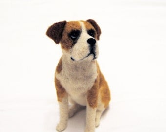 Needle Felted Dog Sculpture, Needle Felted Dog, Felted Pet Portrait, Handmade Dog, Commemorative Pet Portrait - medium size - made to order