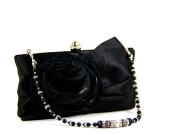 Black Purse - Black Clutch - Black satin evening bag with Swarovski crystal purse handle that can also be worn as a necklace