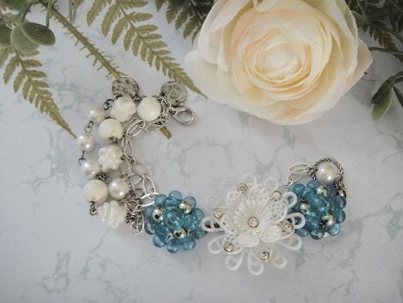 Bridal Flower Bracelet : White flower bracelet bridal by vintageredo