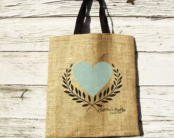 Design Proof for Rustic Wedding, Destination Wedding Welcome Bag, Farm Wedding, Outdoor Wedding, Burlap Tote Bag, Heart Tote Bag, Proof Only