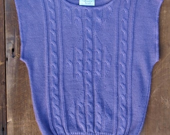 SALE / Purple Sweater / Boho Sweater / Short Sleeve Sweater / Solid Color Top / Vintage Sweater / Cable Knit Top / Purple Top / Knit Top