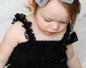 Gray Chiffon hair bow Headband Shabby Chic vintage hairbow baby headband grey fabric knot bow