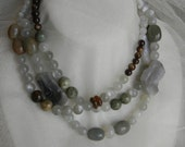 Moonstone beads & agate chunks necklace w beaded jewelry , single strand , long bead necklace , moonstone necklace , agate , bead necklace