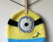Minion Crochet Baby Beanie, Handmade, Inspired by Despicable Me