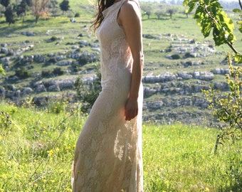 Long lace dress, beige lace wedding dress, boho wedding dress spring / autumn 2014 , sleeveless fall lace dress, plus size wedding dress