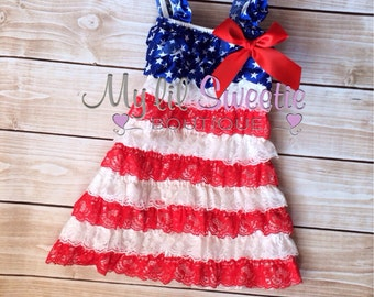 Patriotic dress, 4th of July dress, Lace dress, toddler dress, 2t dress, 3t dress, 4t dress, red white blue