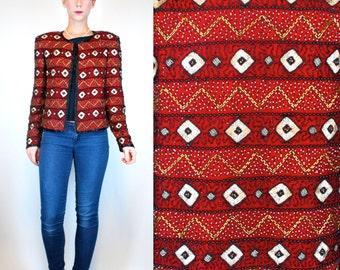 Vintage 80s ART DECO Red Silk Beaded / Sequined Geometric Mini Dress Jacket Party Top. Metallic Glam Boho draped Shrug. Extra Small - Small