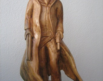 Hand carved Cowboy sculpture - Wood carving - Large wood sculpture - Cowboy Bandit - Western art - Wooden Sculpture - Original artwork - Art