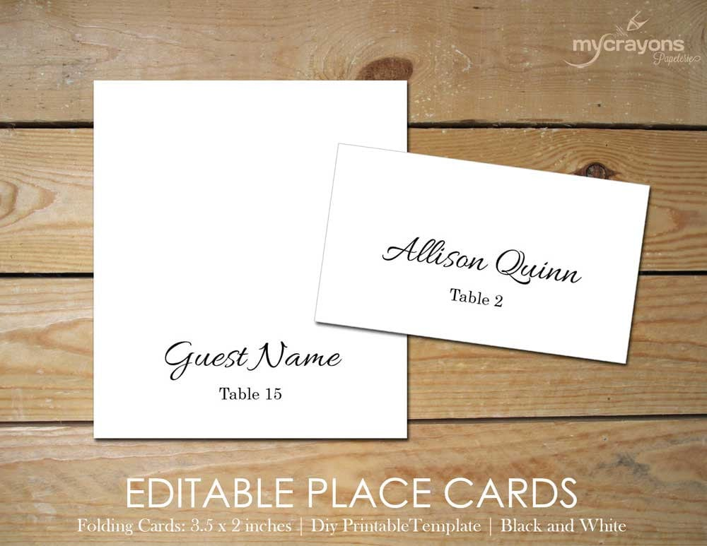 Wedding tent cards folded editable place by for Wedding place name cards