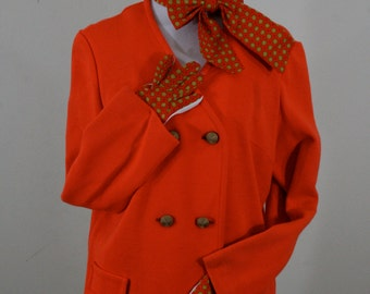 1970s Orange Jacket and Foulard Print Gloves and Scarf, Russ