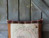 Primitive Fall Pillow, Fall Stitchery, Happy Fall Pillow