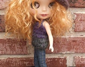 Blythe Doll Top Knit in  Purple and Slate Gray Variegated Yarn