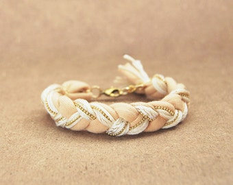 Cream friendship braid bracelet with chain, friendship bracelet from cotton, beige bracelet